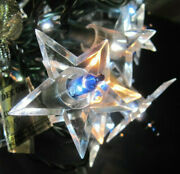 32 Vintage Christmas Clear Star Light Covers Midget Working String