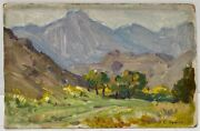 Benjamin Chambers Brown Early Ca Small Mountain Landscape Study Signed Oil Coa