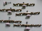 Ornate Cabinet Drawer Porcelain Pulls Knobs Brass Centers And Backplates Lot Of 5