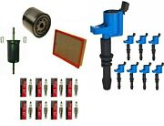 Tune Up Kit Blue Coils +plugs And Filter For 2005-2008 Ford Expedition 5.4l