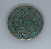 Johnson And Held Round Inlay Belt Buckle Handcrafted In The Us