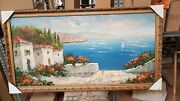 Painting Hand Painted On Linen Frame Leaf Gold Great Prices Various New