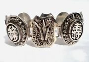 Vintage/antique Chinese/china/asian Sterling Silver Four Seasons Bracelet