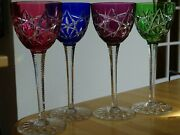 Vintage Four Roemer Wine Glasses Crystal Baccarat Colors Pattern S.1134