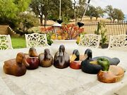 Vintage Wood Hand Carved Signed Duck Decoys Decorative French Broad Set Of 7