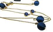 Ann Taylor Station Necklace New Nwt Blue Thread Gold Balls Bead Crystal Accents