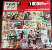 Vintage Kelloggand039s Art Work Cereal Boxand039s 1000 Piece Jigsaw Puzzle Collage New