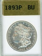 1893-p Morgan Silver Dollar Uncirulated Bu Full Strike Wing And Neck Feathers