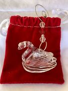 2001 Waterford Crystal 12 Days Of Christmas 7 Swans Swimming Xmas Ornament