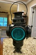 Antique Railroad Oil Lantern Adlake Non Sweating 1264 Green And Yellow Chicago
