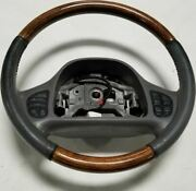 1999-2002 Lincoln Continental Steering Wheel Wood Graphite With Radio Climate Bu