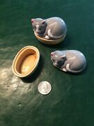 Two Used Miniature Ceramic Cat Trinket Boxes, Featuring Cats In Beds 1981
