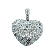 14k Solid White Gold Puffed Pave Heart Natural Diamond 3.0 Total Carats Pendant