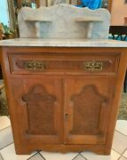 Victorian Marble Top Commode Dresser Wash Stand Side Table Burled Walnut Antique