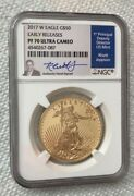2017 W American Gold Eagle 50 1 Oz Ngc Pf 70 Ultra Cameo Early Releases Proof