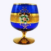 Murano Italy Cobalt Blue Goblet Art Glass Gold With Enameled Flowers Compote Vtg
