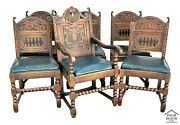 Antique 1800's Solid Carved English Oak Tudor Style Dining Chairs - Set Of 6