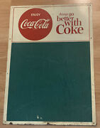 Rare -things Go Better With Coke Coca-cola Button Sign Vtg Chalkboard Trade Mark