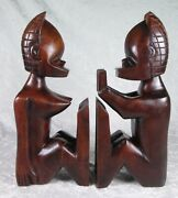 Vintage Paul Marshall Wooden Tiki Bookends Male Female Nudes 13-1/4 Inches Tall