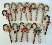 15 Primitive Fabric Covered Candy Cane Christmas Ornaments Farmhouse Cottage