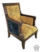 Antique 1800's Italian Carved Dolphins In Walnut Throne Nail Studded Armchair
