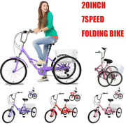 Adult Folding Tricycles 7speed Trikes 20 3wheel Bikes With Basket For Women Men