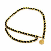 31 Rue Cambon Chain Belt Leather Gold Black Accessory Vintage 90131381