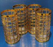 Imperial Glass Flat Tumbler Set Of 4 Toril De Oro Gold Two Sets Available