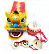 2-5age Kid Lion Dance Gong Drum Mascot Costume Cartoon Props Play Parade Outfit