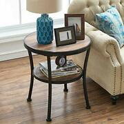 Round End Table/side Table/nightstand - Rustic Industrial Style Vintage