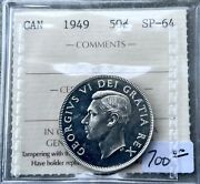 1949 Canada 50 Cent Silver Coin Half Dollar Proof Like Iccs Sp 64 Specimen