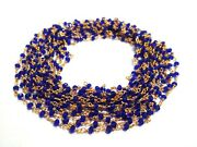 300 Feet Dark Blue 3-4mm Rosary Beaded Chain 24k Gold Plated Wire Wrappedhydro