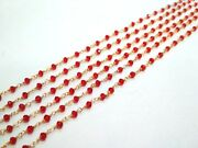 300 Feet Garnet Beads Rosary Beaded Chain 24k Gold Plated Wire Wrappedhydro Jf3