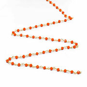 300 Feet Coral Chalcedony 3-4mm Rosary Beaded Chain Hydro 24k Gold Plated Wire