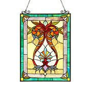 Style Stained Glass Window Panel 17.5 W X 25 H Last One This Price