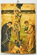 Antique Russian Hand Painted Icon On Wood Crucifixion Jesus Virgin Mary St. John