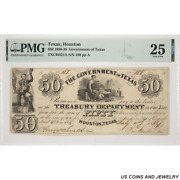 1838 Houston Government Of Texas 50 Note Pmg Vf 25 Txcrh21a S/n 188