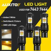 4x 7443 Dual Color Switchback Led White Amber Turn Signal Parking Light Bulbs