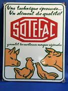 Vintage French Porcelain Enameled Sotefac Grain Feed Livestock And Poultry Sign