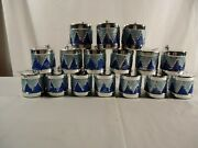 Blue And Silver Glitter Small Drums Christmas Ornaments