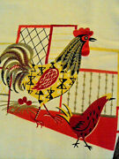 Vintage Printed Tablecloth Farmhouse Red Rooster Chickens Measures 46andrdquo X 50