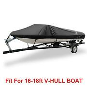 16-18ft 94 300d Trailerable Boat Cover Waterproof V-hull Tri-hull Runabout