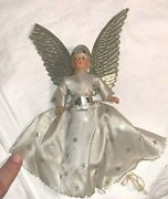 Vintage Noma Boy Angel Christmas Feather Tree Topper Cardboard Tube Composition