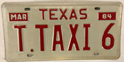 Vanity T The Taxi 6 License Plate Cab Uber Limo Driver 1984 Tx