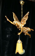 Vintage Xl 1970 Angel Winged Lady Pendant Chandelier Lamp Glass Paste Shade