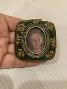 Jay Strongwater Compact Mirror With Picture Frame Enamel And Crystals Green