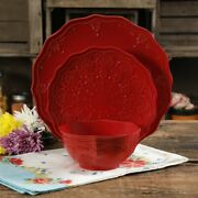 Lace Dinnerware Set Pioneer 12 Piece Farmhouse Woman Service For 4 Country Charm