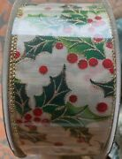 Kirkland Wire-edged Holly Christmas Ribbon 2.5 X 50 Yds New Sealed Roll