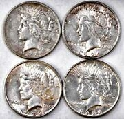 Group Of 4 Peace Silver Dollars Includes 1922p, 1923p, 1924p, 1925p Free Ship
