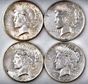 Group Of 4 Peace Silver Dollars Includes 1922d, 1923p, 1924p, 1925p Free Ship